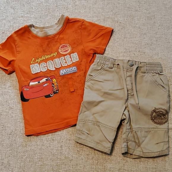 Cars Movie Orange Shirt 3T and tan khaki shorts